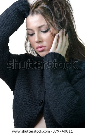 Beautiful brunette young woman wear black women pullover