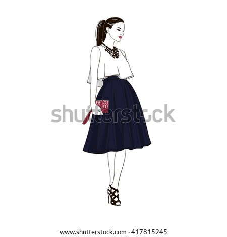 Beautiful brunette young women in white blouse, black high heel shoes and dark blue midi skirt with handbag. Hand drawn illustration. - stock photo