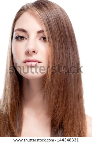 beautiful bruntte woman with straight long hair isolated on white background - stock photo