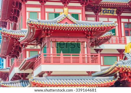 Beautiful Buddha tooth temple in china town area at singapore