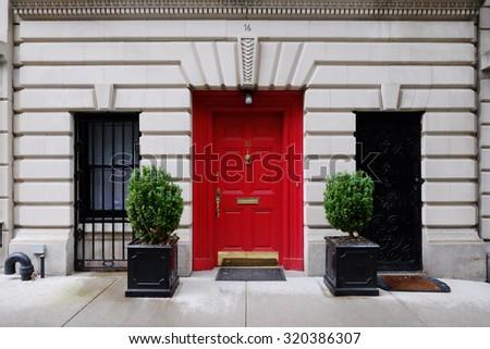 Beautiful building  Entrance red door  Manhattan New York  USA  Classic  apartment estateBeautiful Building Entrance Red Door Manhattan Stock Photo  . Brick Apartment Building Entrance. Home Design Ideas