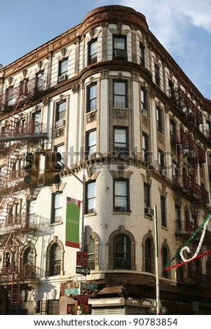 Beautiful building in Little Italy, New York City, USA - stock photo