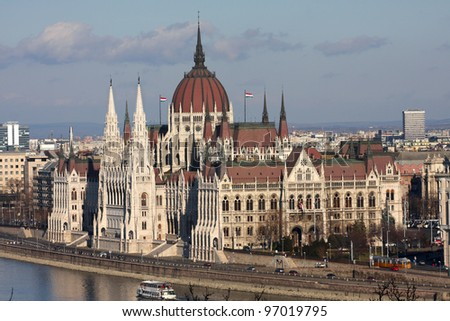 beautiful building of Hungarian parliament at the Budapest