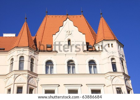 Beautiful Building of the modern Czech Architecture 19th and 20th century in Prague