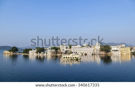 Beautiful building on the Lake in Udaipur, India - stock photo