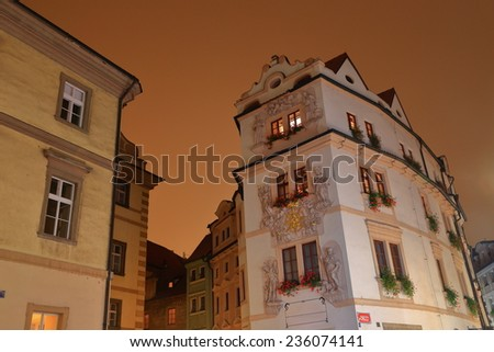 Beautiful buildings from the Prague Old Town by night, Czech Republic - stock photo