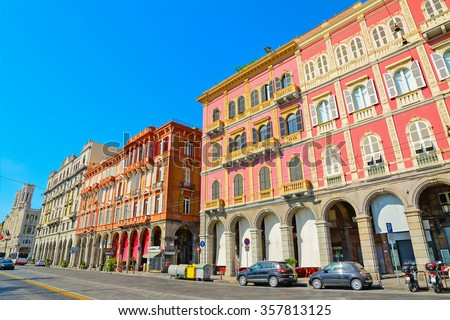 beautiful buildings in Cagliari seafront, Italy - stock photo