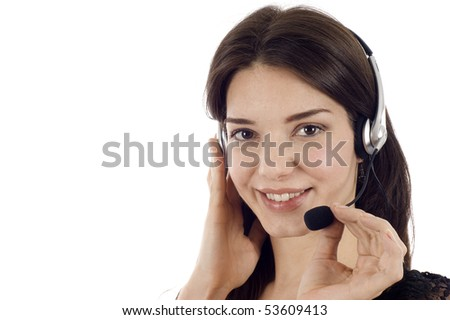 beautiful business customer service woman -isolated over a white background, a lot copyspace. - stock photo