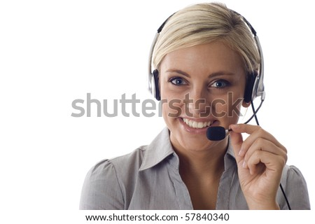 Beautiful business customer service woman -isolated over a white background, a lot copyspace - stock photo