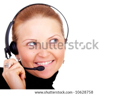 beautiful business customer service woman; smiling isolated over a white background - stock photo