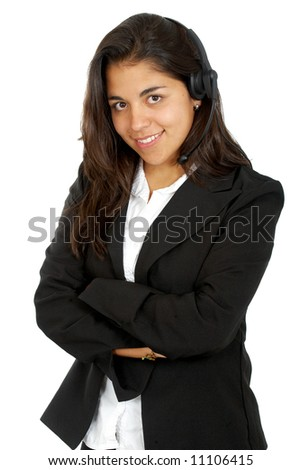 beautiful business customer service woman - smiling isolated over a white background