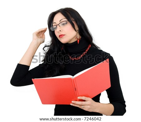 beautiful business girl, reading a notebook, studio isolated