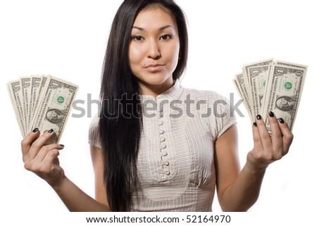 beautiful business lady shows money - stock photo