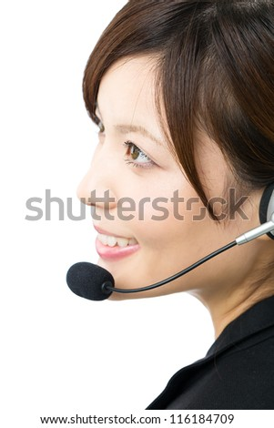 Beautiful business operator on white background. Portrait of asian.