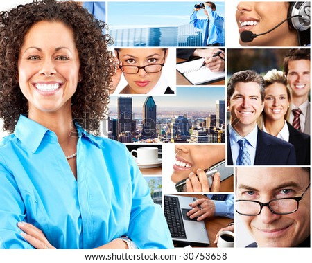 Beautiful  business woman  and business people. - stock photo