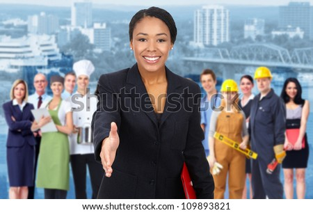 Beautiful Business woman and Group of industrial workers. - stock photo