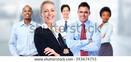 Beautiful business woman and group of workers. - stock photo
