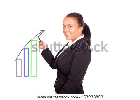 beautiful business woman drawing diagram - stock photo