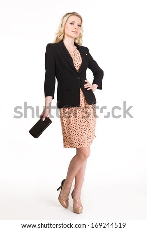 Beautiful Business Woman Fashion Blond Model isolated on white