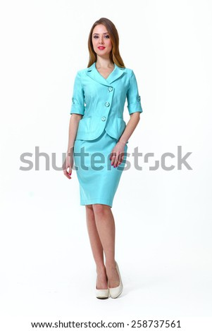 beautiful business woman fashion model girl in summer blue office suit - stock photo
