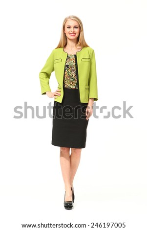 beautiful business woman fashion model in office modern suit - stock photo