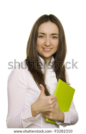 Beautiful business woman holding a green folder and a pen. Isolated on white background