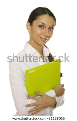 Beautiful business woman holding a green folder. Isolated on white background - stock photo