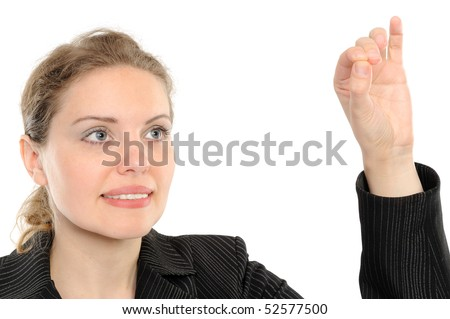 Beautiful business woman holding hand presenting a product. On a white background - stock photo