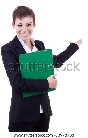 Beautiful business woman holding hand presenting a product. Ready for you to add txt or graphics.On a white background