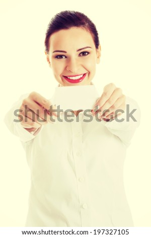 Beautiful business woman holding personal card