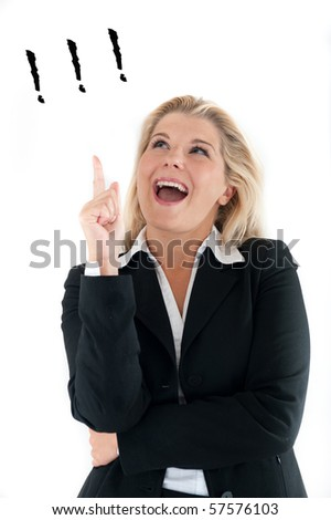 beautiful business woman in a suit having an idea. white background - stock photo