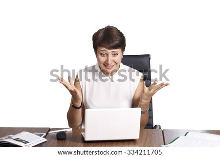 beautiful business woman, isolated on a white background, emotions while working - stock photo