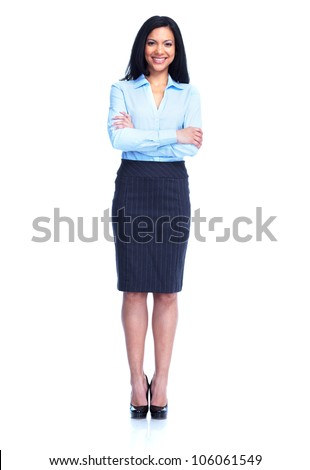 Beautiful business woman. Isolated on white background. - stock photo