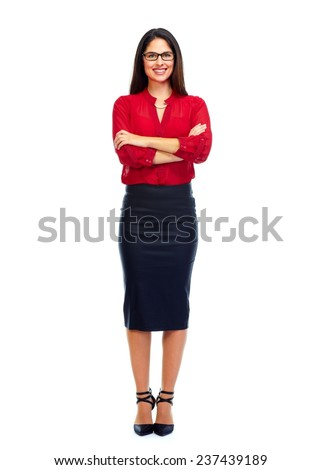Beautiful business woman isolated on white background - stock photo