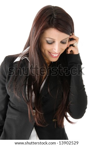 Beautiful business woman mobile phone speaking, isolated on a white background - stock photo