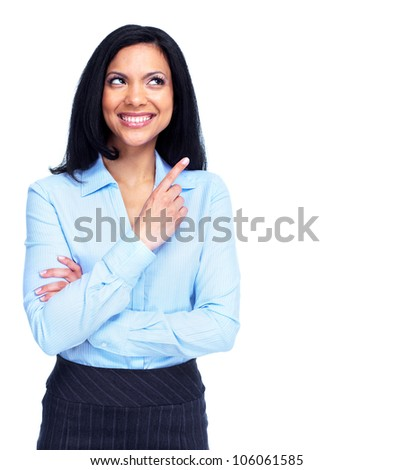 Beautiful business woman presenting a copyspace. Isolated on white background.