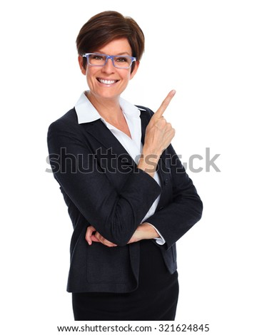 Beautiful business woman showing copy space isolated white background - stock photo