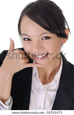 Beautiful business woman showing telephone gesture to ask you to call her. - stock photo