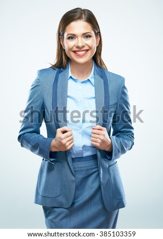 Beautiful business woman smile. Isolated portrait. Studio isolated background. Business suit. - stock photo