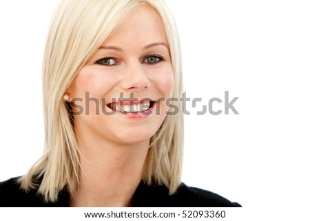 Beautiful business woman smiling isolated over a white background - stock photo