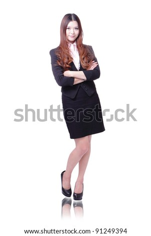 Beautiful Business woman stand and smile isolated on white background, model is a asian beauty - stock photo