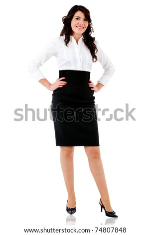 Beautiful business woman standing - isolated over white