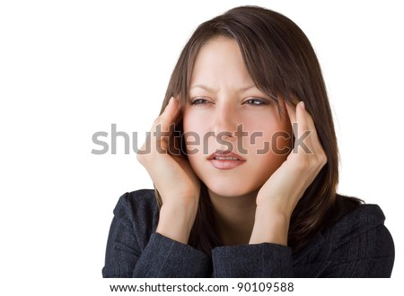 Beautiful business woman suffering from headache, isolated on white background - stock photo