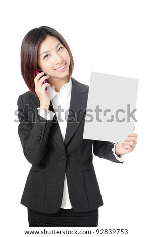 Beautiful Business woman take blank paper and speaking mobile phone isolated on white background, model is a asian beauty - stock photo