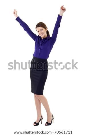 beautiful business woman winning isolated on white background - stock photo