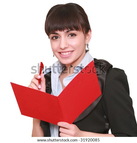 beautiful business woman with a folder, isolated on a white background