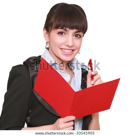 beautiful business woman with a folder, isolated on a white background, please see some of my other parts of a body images