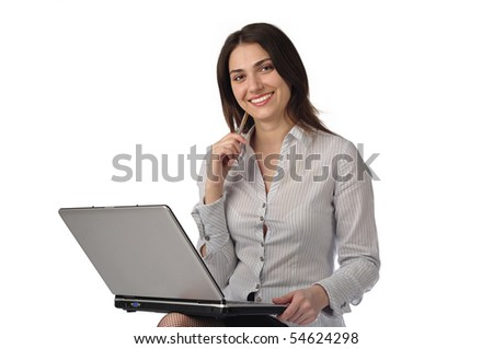 Beautiful business woman with a laptop looking at camera - stock photo