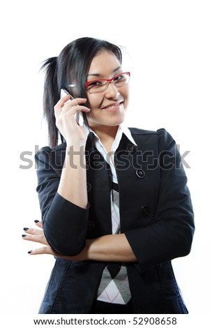 Beautiful business woman with a very confident, friendly smile on phone