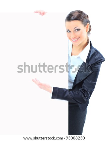 Beautiful business woman with a white banner. Isolated on a white background. - stock photo